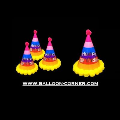 Topi Ulang Tahun Anak Kerucut Rainbow Pom Pom