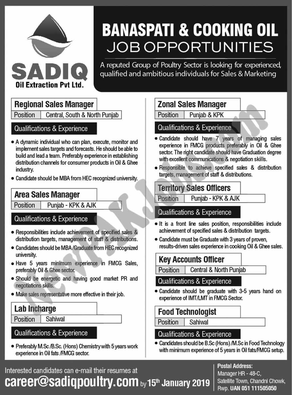 New Jobs in Sadiq Banspati and Cooking Oil 08 Jan 2019 newpakjobs