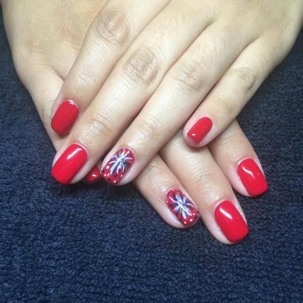 Cool, floral ,reindeer nail design