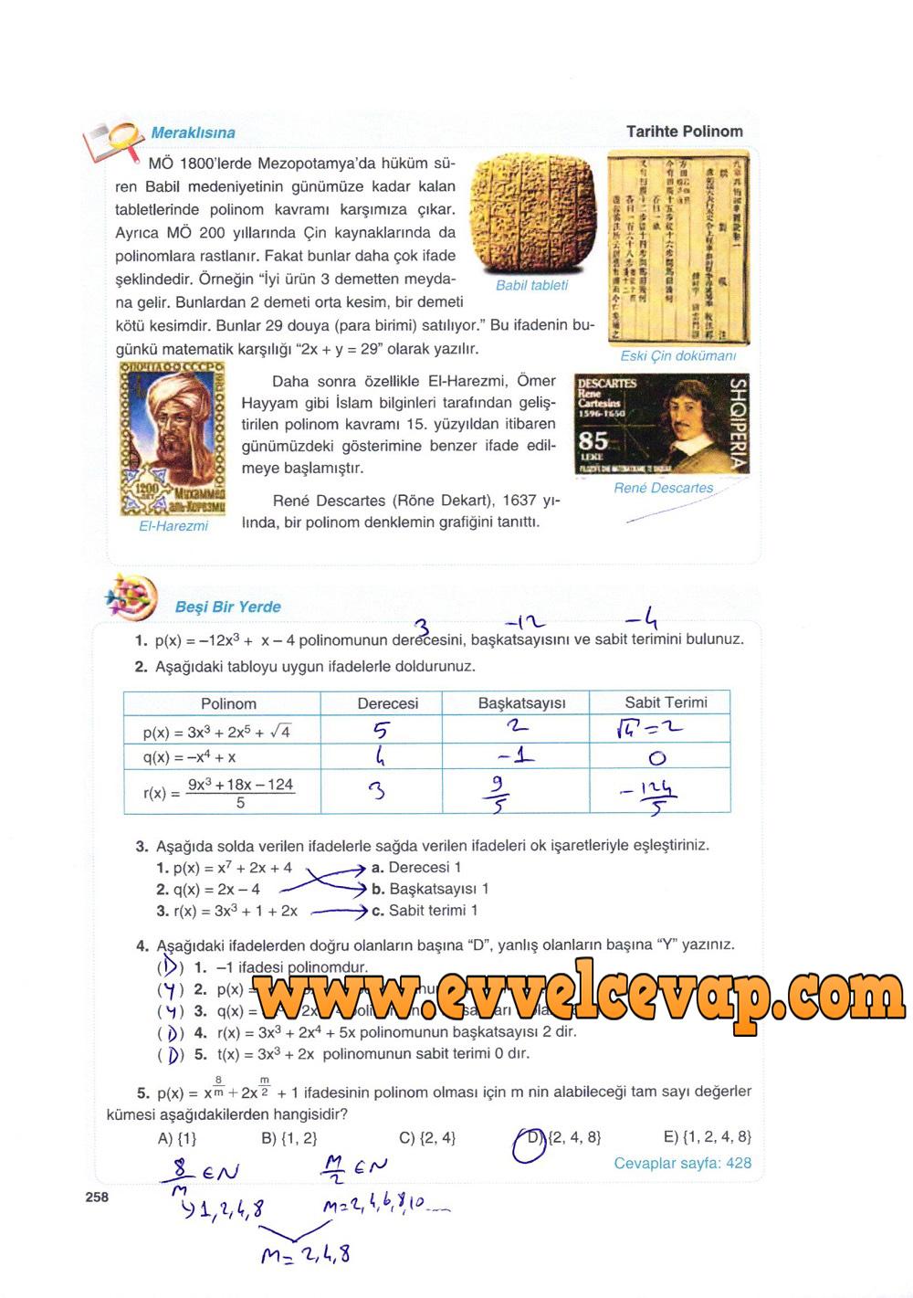 10. Sınıf Matematik Tuna Yayınları Ders Kitabı 258. Sayfa Çözümleri