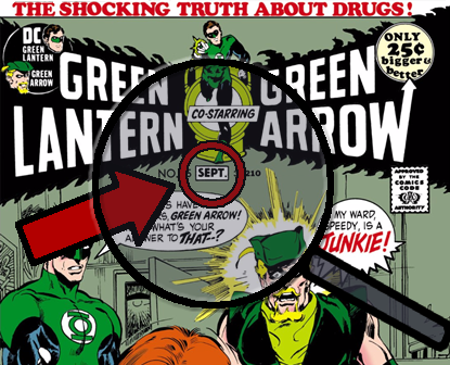 Green Lantern (1960)/Green Arrow #85 cover with spyglass focusing on the cover date
