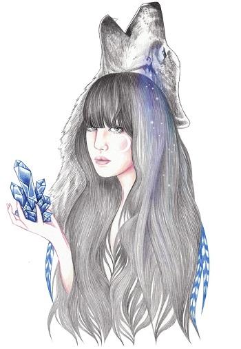 """Blue Crystal"" by Andrea Hrnjak | dibujos bonitos a lapiz | imagenes lindas | illustration art"