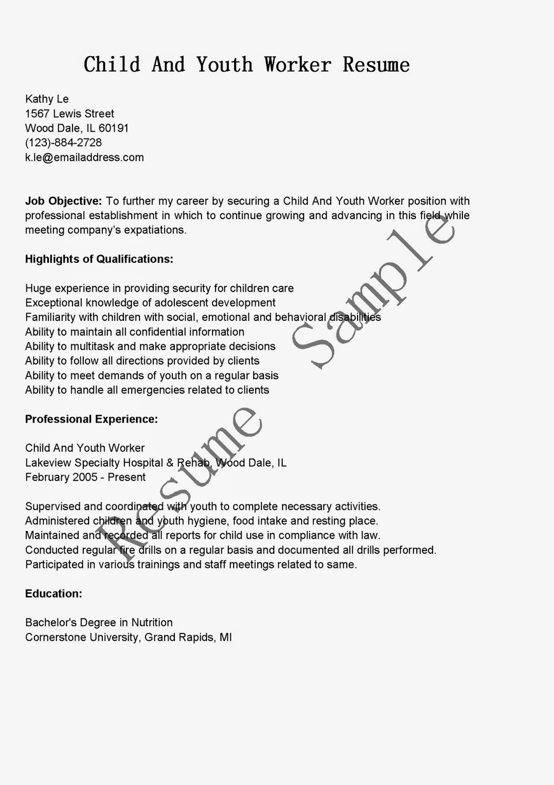 resume samples  child and youth worker resume sample