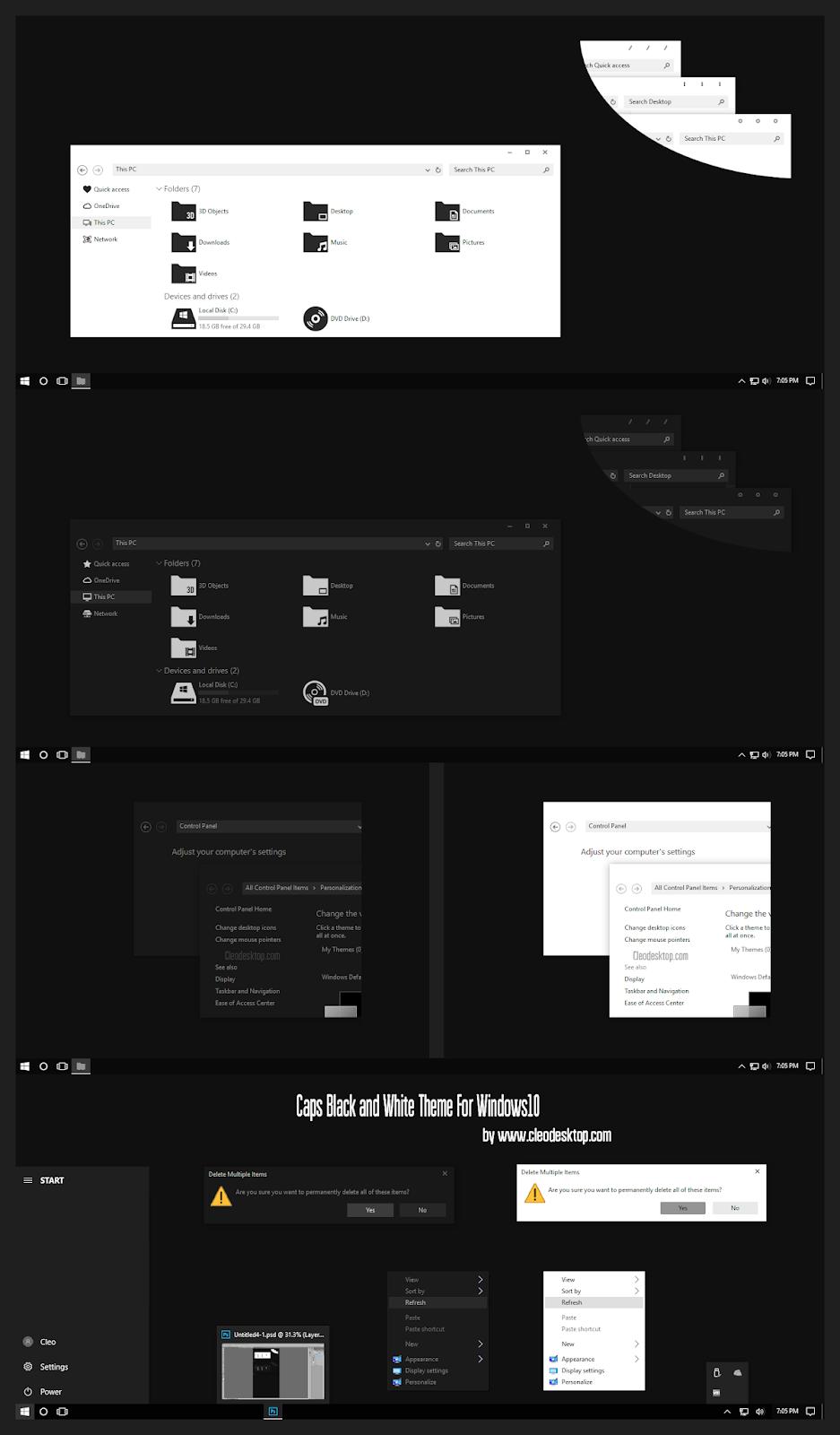 Caps Black and White Theme Windows10 November 2019 Update 1909