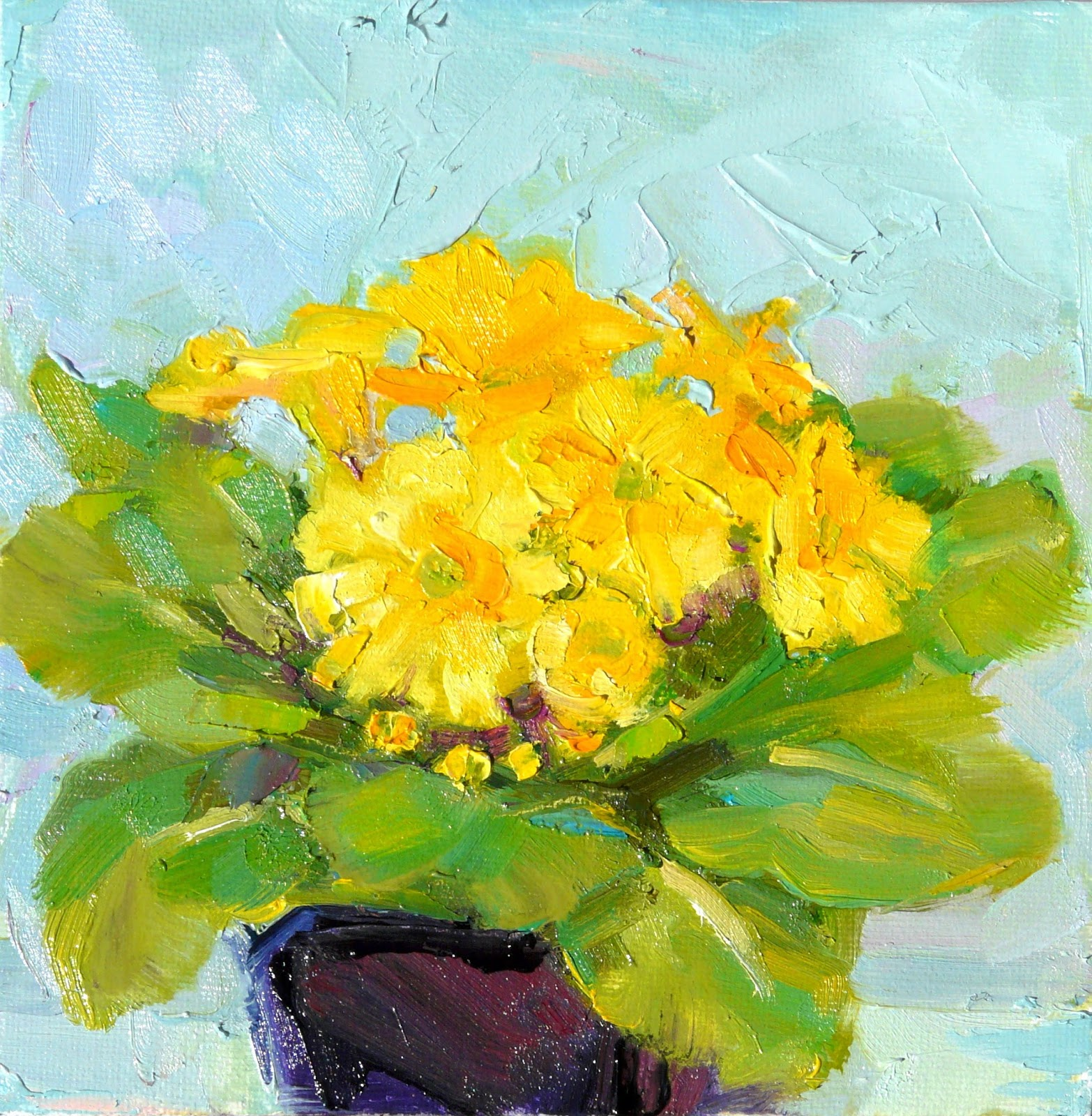 Art Every Day Yellow Primrosestill Lifeoil On Canvas6x6price200