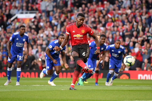 Paul Pogba of Manchester United scores his team's first goal during the Premier League match between Manchester United and Leicester City at Old Trafford on August 10, 2018 in Manchester, United Kingdom.