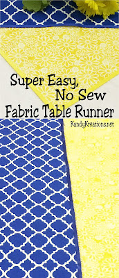Do you hate to sew?  Me too! So I found a super easy way to make a no sew fabric table runner to turn my party tables from cool to Wow! without having to use my sewing machine.