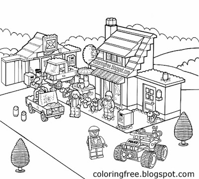 Free cool worksheets teenage coloring legoland village shops city Lego clipart printable pictures