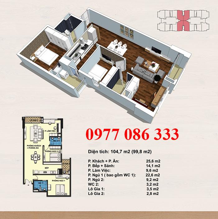 Thiết kế căn hộ 99,8 m2 - bán chung cư handi resco
