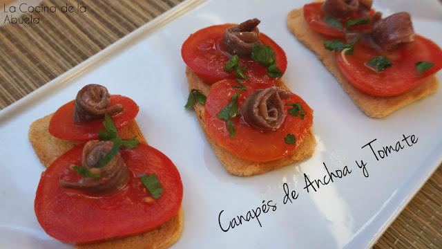 Canapés anchoas tomate aperitivo receta