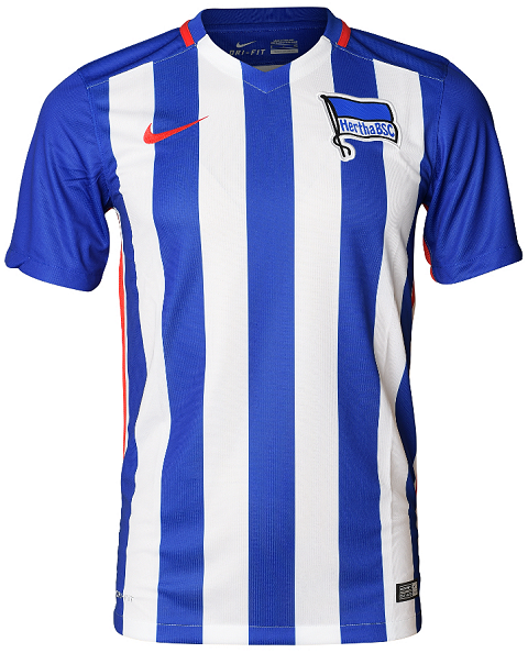 The new Hertha BSC 15-16 Away Shirt combines the colors of the famous Hertha  crest to create a clean design. Based on the same template as the home  shirt a3dcafd79