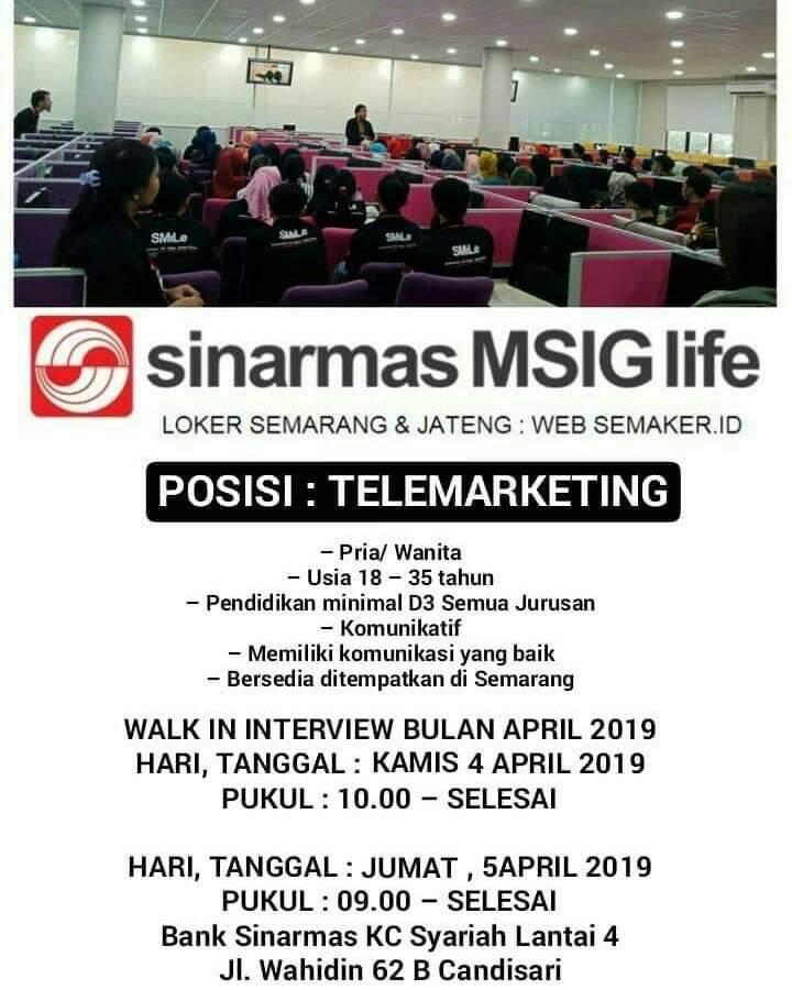 Lowongan Kerja Telemarketing di Sinarmas MSIG Life - April