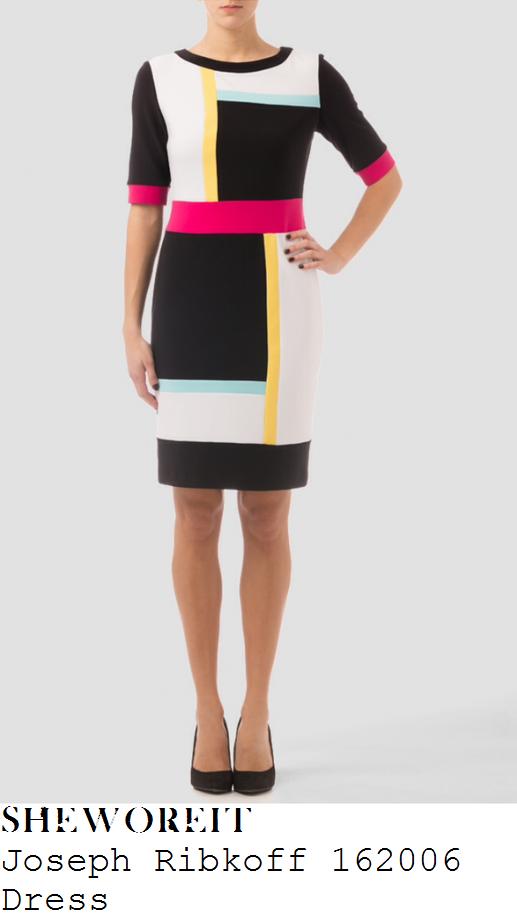 susanna-reid-black-white-yellow-pink-blue-mint-colour-block-panel-detail-dress-good-morning-britian