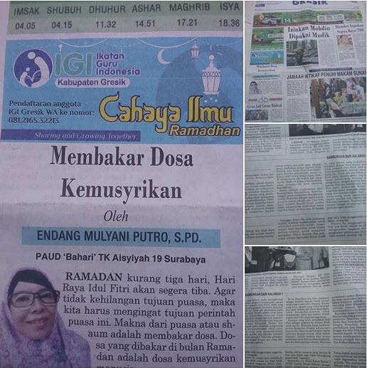 Tulisan Bu Endang Mulyani Putro, S.Pd., PAUD Bahari TK Aisyiyah 19 Surabaya