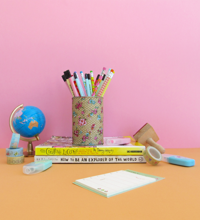 Reuse, reduce, recycle, empty can pencil holder, adhesive fabric, diy, crafts, do it yourself, Earth Day