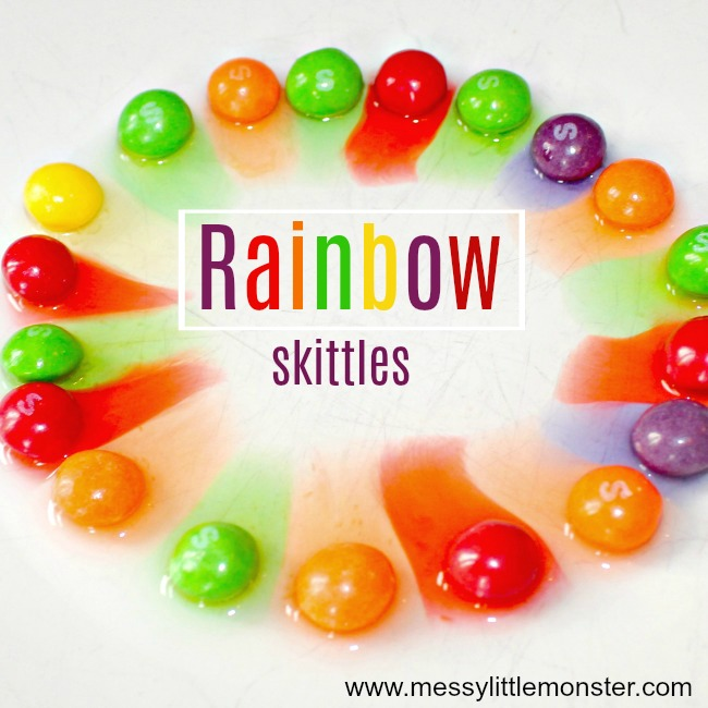 Rainbow skittles in a classic kids science experiment loved by toddlers, preschoolers and older kids. A great use for left over Halloween candy.
