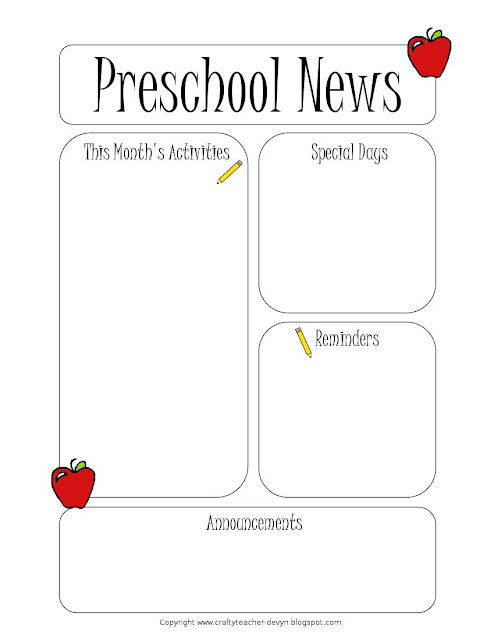 The Crafty Teacher: Preschool Newsletter Template