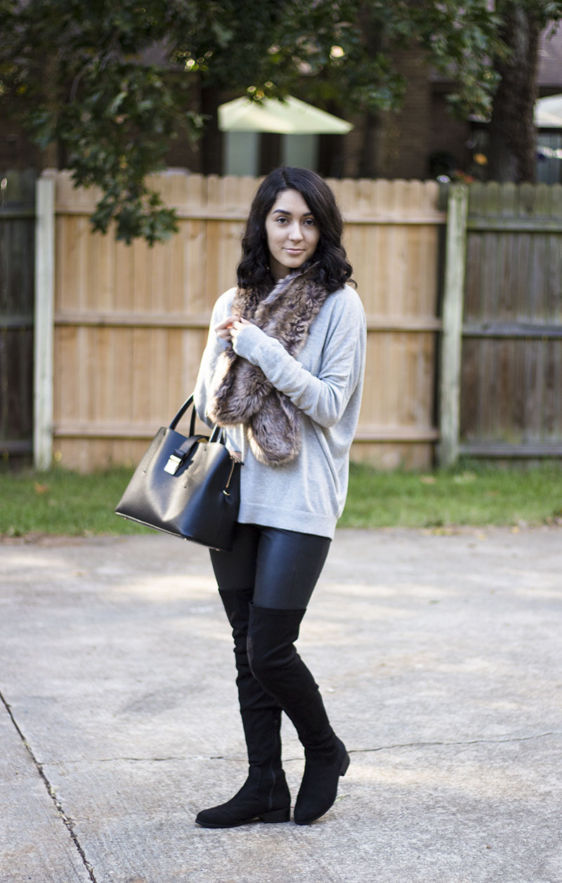Over-the-knee boots and faux fur
