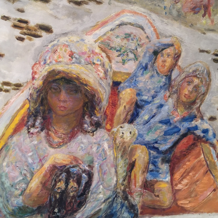 three girls in a boat detail from pierre bonnard painting