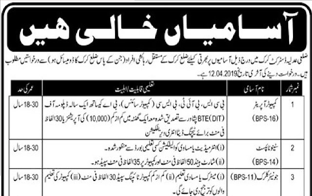 District & Session Judge Karak Jobs for Computer Operator, Steno, Naib Qasid & Others Latest Advertisement