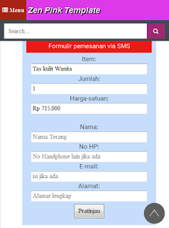 form order sms zen pink template
