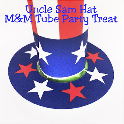 Bring Uncle Sam to your 4th of July party with this yummy Uncle Sam Hat M&M mini candy tube.  This makes a great party favor or dessert at your patriotic party. #candybarwrapper #patriotic #4thofjuly #patriotic #printableparty #diypartymomblog