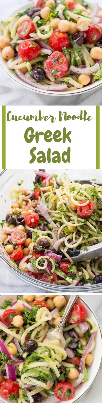 Vegan Cucumber Noodle Greek Salad #salad #vegan