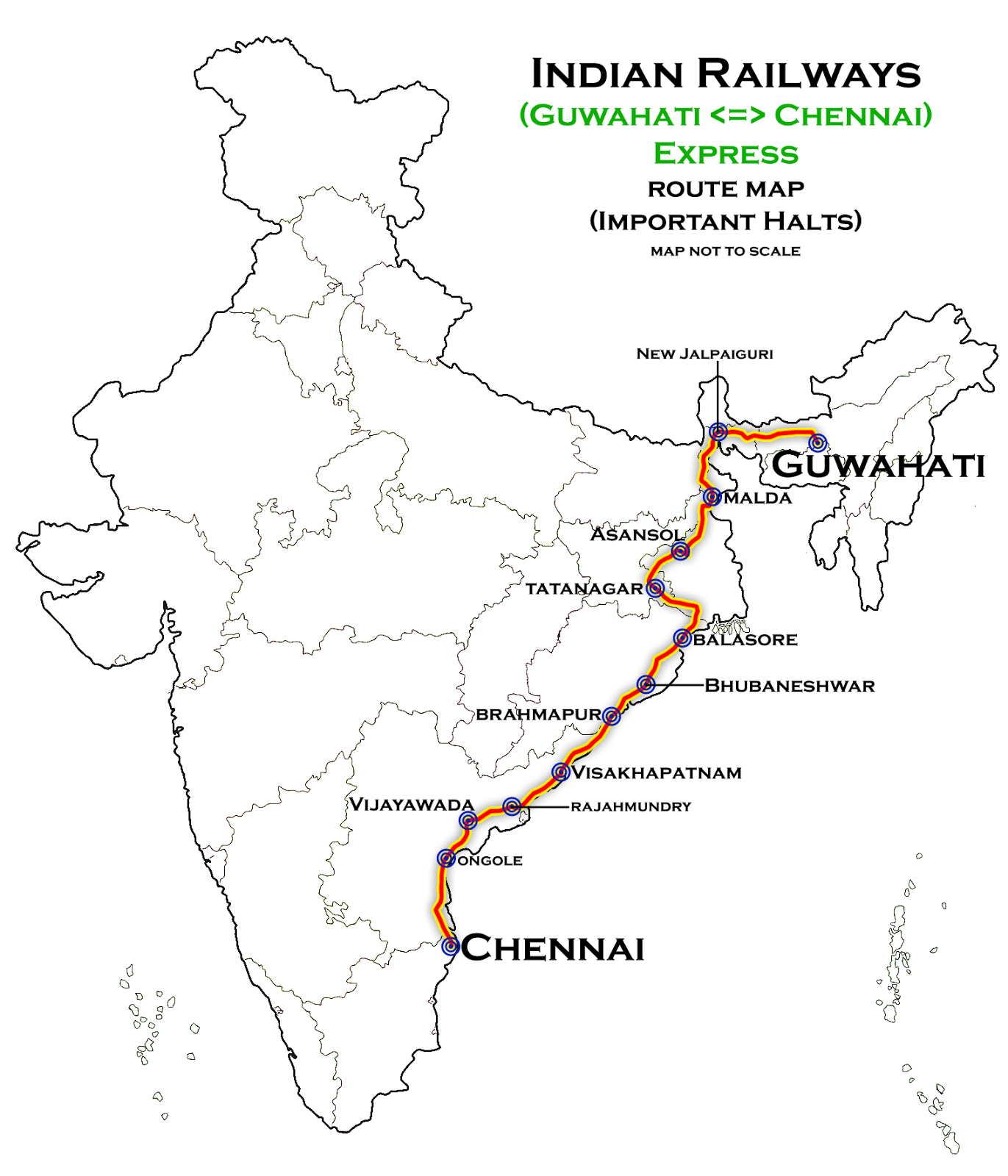Guwahati Express largest railway rotue in India