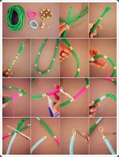 Renkli iplerden boncuk kolye modeli yapımı resimli açıklamalı 1