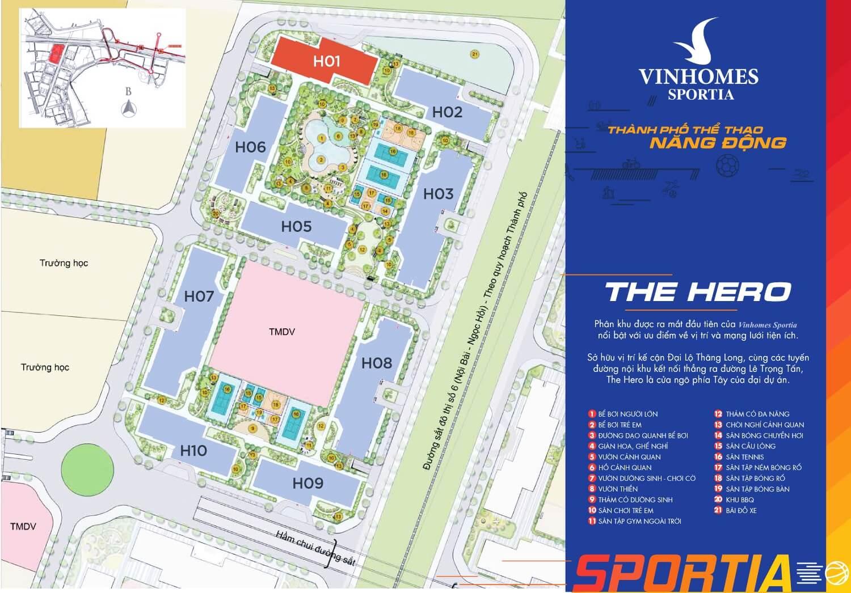 Quy hoạch khu The Hero Vinhomes Sportia Tây Mỗ