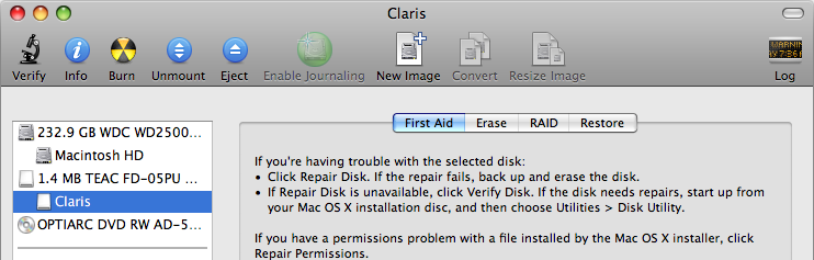 Selecting the floppy in Disk Utility