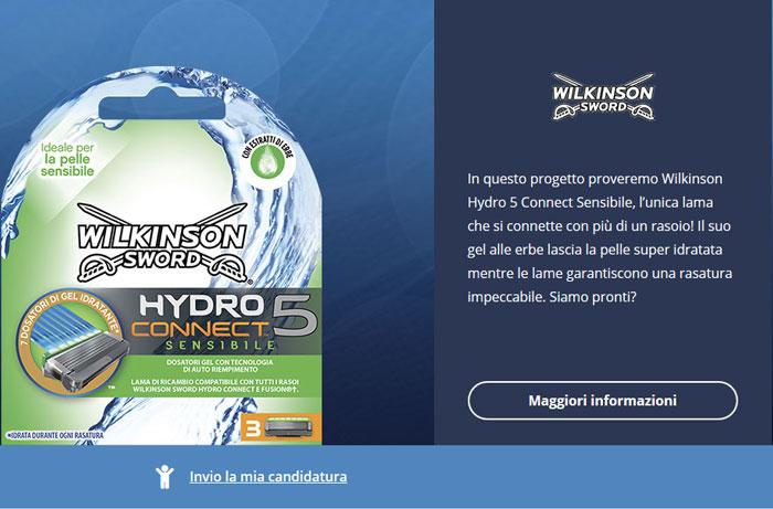 clicca qui per candidarti come tester di Wilkinson Hydro 5 Connect Sensibile