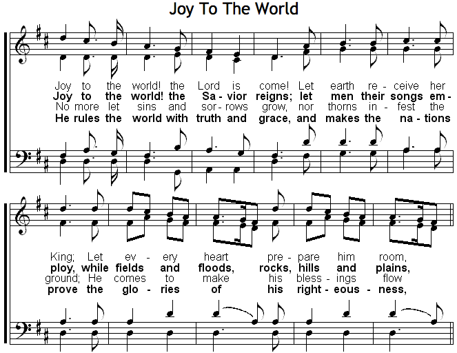sheet music of Joy To The World