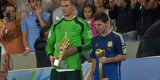 Messi giành quả bóng vàng wolrd cup 2014.