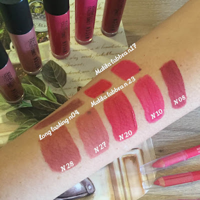 Swatches Liquid lipstick di Wycon cosmetics: Mandorla, Naturale, Sweet Strawberry, Fucsia e Sangria