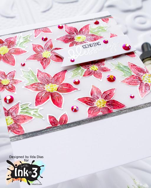Liquid Pixie Dust on Poinsettia Blessings Card by ilovedoingallthingscrafty.com