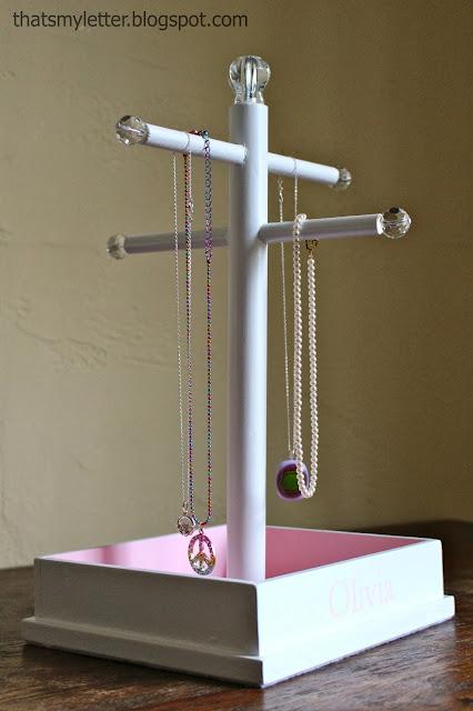 diy jewelry stand with glass knob details