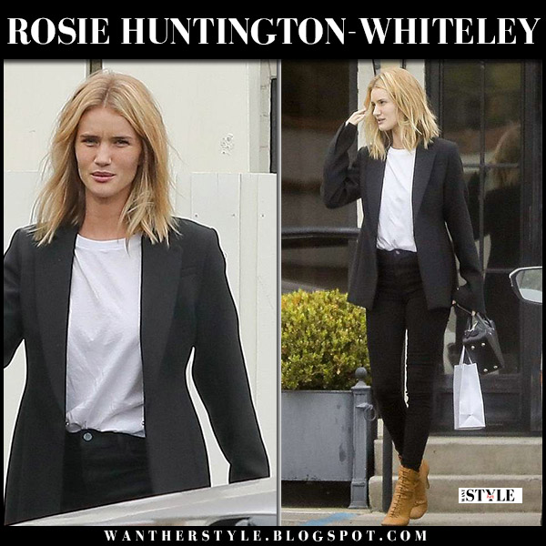 Rosie Huntington-Whiteley in black blazer, black jeans and brown suede boots model street style may 24