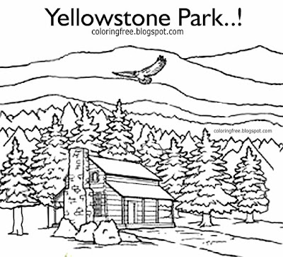 Vacation mountain log cabin Yellowstone park coloring page American wildlife printable for teenagers