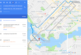 Google Maps screen capture showing route between Waterfront Skytrain Stn and Granville Island Via the Ferry, and 2 land routes.