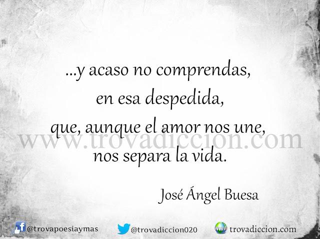 y acaso no comprendas, en esa despedida, que, aunque el amor nos une, nos separa la vida.
