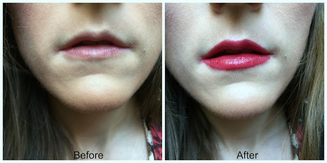 before and after bourjois colorboost lipstick in red island