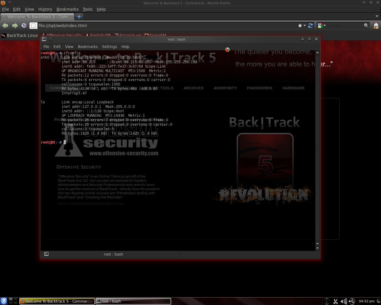 changer adresse mac backtrack 5