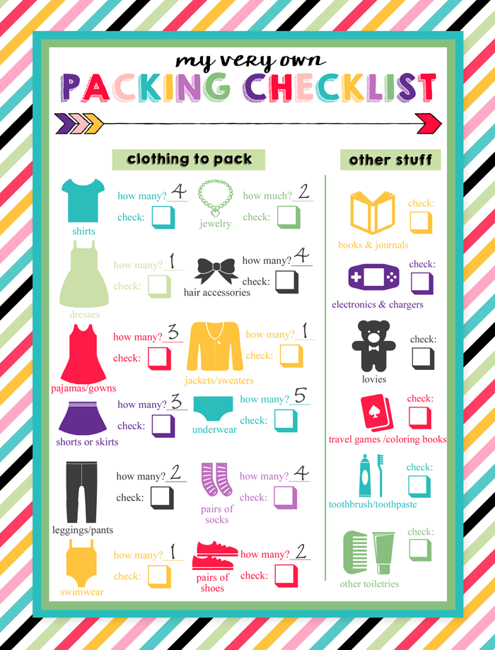 The Image Above Is An Example Of How I Use This Childrens Travel Packing List By Filling In Quantities Ahead Time Let Kids Check Off