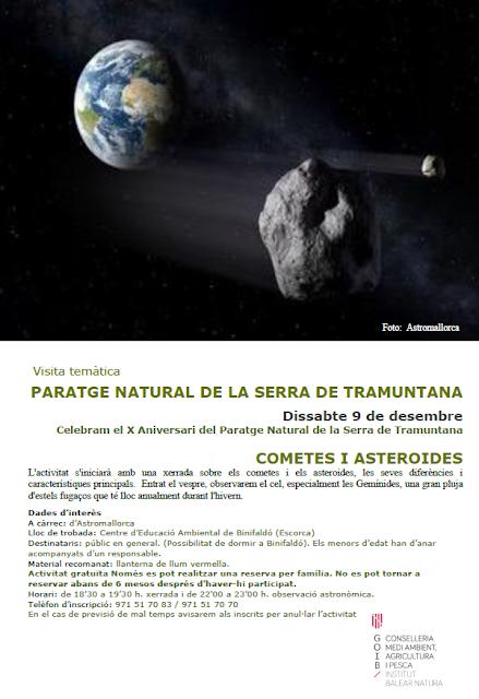cartel cometas y asteroides Serra de Tramuntana