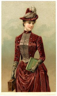 Color illustration of a young brunette woman wearing a Dark Red, almost rust, colored Velvet Dress with a bustle in the back. She has on a matching Hat with an Ostrich plume on the top of it. She's also wearing long gloves. [Part of this image description was taken from the site that provided the image.  Link is in the image caption.]