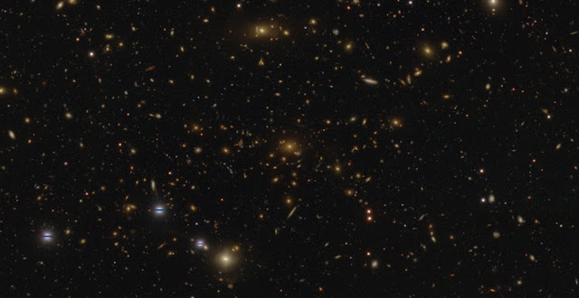 A HSC-SSP image of a massive cluster of galaxies in the Virgo constellation showing numerous strong gravitational lenses. The distance to the central galaxy is 5.3 billion light years, while the lensed galaxies, apparent as the arcs around the cluster, are much more distant. This is a composite image in the g, r, and i band, and has a spatial resolution of about 0.6 arcsecond. (Credit: NAOJ/HSC Project)