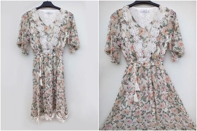 zaful, online shop, online sajt, review, recenzija, haljina, proljeće, ljeto, spring, summer, floral design, cvjetni uzorak, moje iskustvo sa zaful stranicom, čipka, lace