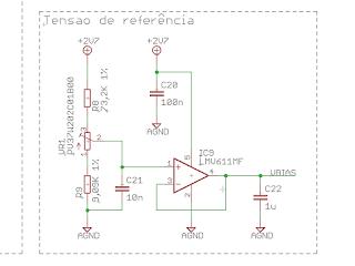Circuito para gerar a tensão de referência. O 'offset' pode ser ajustado através do potenciómetro em VR1.