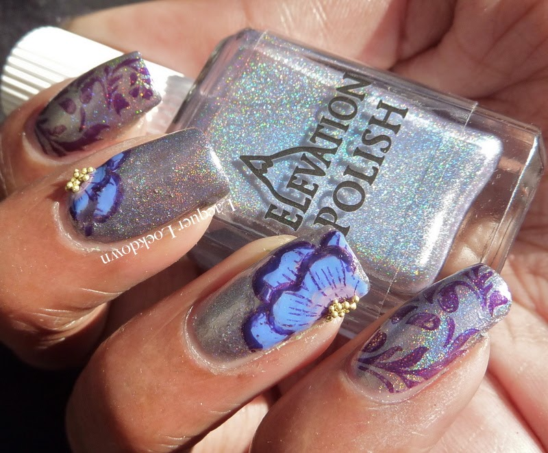 Lacquer Lockdown - Elevation Polish, Winstonia plates, W04, stamping, nail art, Elevation Polish El Cap II, Elevation Polish Tronador, advanced stamping, diy nail art, cute nails, cute nail art ideas, holographic polish, floral nail art, easy nail art ideas, easy nail art, pueen 2014